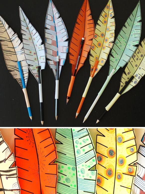 القلم الريشة-نشاط فني للأطفال-رسم وتلوين